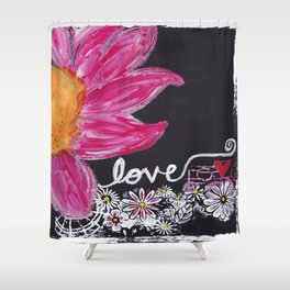 PINK FLOWER LOVE Shower Curtain