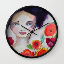 Blue Haired Whimsical Girl Colorful Flowers Wall Clock