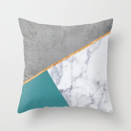 MARBLE TEAL GOLD GRAY GEOMETRIC Throw Pillow