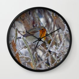 Robin in Winter | Rotkehlchen im Winter Wall Clock