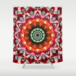 Christmas Snowflake Mandala Shower Curtain