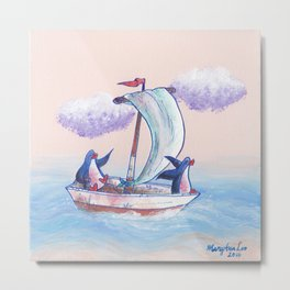 Penguins sailing on the waves of adventure. Metal Print