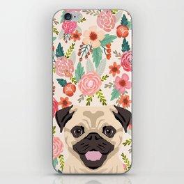 Pug floral dog portrait Pug dog peeking face gifts for dog lover pugs iPhone Skin