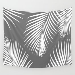 Dark Gray Tropical Pattern Wall Tapestry