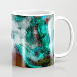 Surrealist and Abstract Painting in Turquoise and Orange Color Coffee Mug
