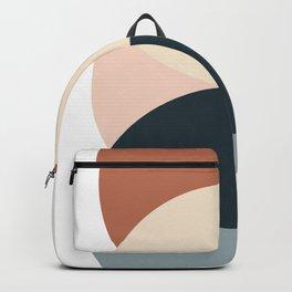 Sun and Moon, Geometric Art, Terracotta, Blue Backpack