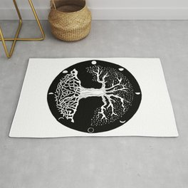 black and white tree of life with moon phases and celtic trinity knot Rug