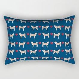 Akita dog breed hearts pet portrait gift for dog lover akitas pet friendly Rectangular Pillow