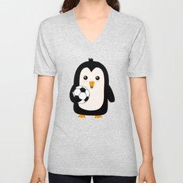 Soccer Penguin with ball T-Shirt Dg3ps Unisex V-Neck