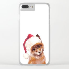 Christmas Baby Fox Clear iPhone Case