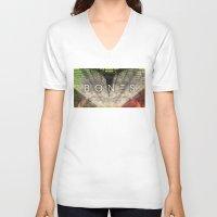 bones V-neck T-shirts featuring Bones by Vin Zzep