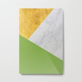 Carrara Marble with Gold and Pantone Greenery Color Metal Print