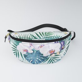 Tropical leaves and orchid flowers design Fanny Pack