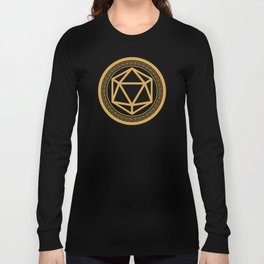 Polyhedral D20 Dice Chinese Symbol Slaying Dragons in Dungeons DnD Tabletop RPG Long Sleeve T-shirt