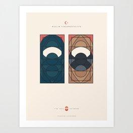 THE VEIL AND THE BEARD - Muslim Fundamentalists - Woman & Man Art Print