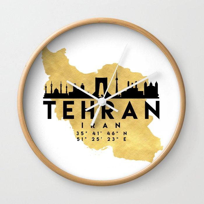 TEHRAN IRAN SILHOUETTE SKYLINE MAP ART Wall Clock by deificusart ...