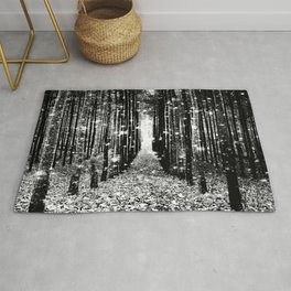 Magical Forest Black White Gray Rug