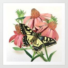 Floral Paper Cut Swallowtail Art Print