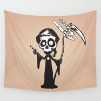 switzerland Wall Tapestries featuring Swiss reaper v2 by mangulica illustrations