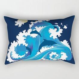Big Waves and Dolphins Rectangular Pillow