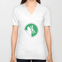 sticker V-neck T-shirts featuring OK Sticker by Chad De Gris