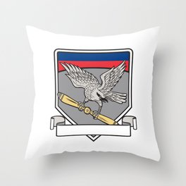 Shrike Clutching Propeller Blade Shield Retro Throw Pillow