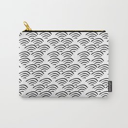 Linocut wave pattern black and white ocean waves minimalist decor gifts Carry-All Pouch
