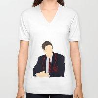 glee V-neck T-shirts featuring Sebastian Smythe - Grant Gustin - Glee - Minimalist design by Hrern1313