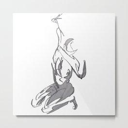 Scared, Gestural Figure Drawing - Grayscale Metal Print