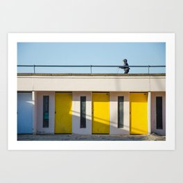 In scooter, yellow cabins Art Print