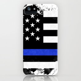 Distressed Thin Blue Line American Flag iPhone Case