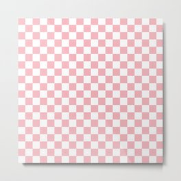 Coral Checkerboard Pattern Metal Print