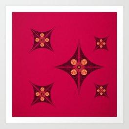 Pata Pattern in Black on Pink Art Print