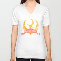 sailormoon V-neck T-shirts featuring  Fight like a Magical Girl by Shouho