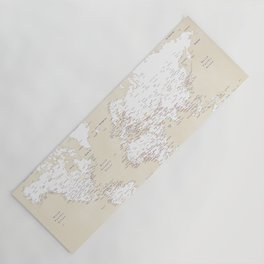 """Cream, white, red and navy blue world map, """"Deuce"""" Yoga Mat"""