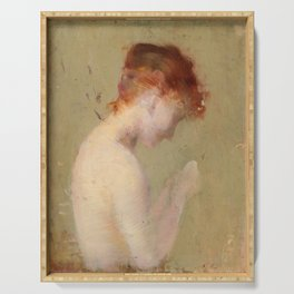 Vintage Female Nude Oil Painting Serving Tray