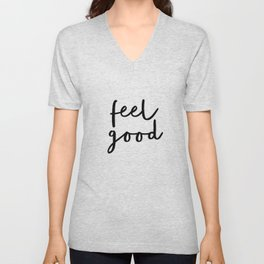 Fell Good black and white contemporary minimalism typography design home wall decor bedroom Unisex V-Neck