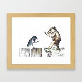The Bird vs. The Bear Framed Art Print