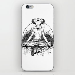 The man with the head of a bull is meditating iPhone Skin
