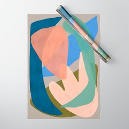 Shapes and Layers no.30 - Large Organic Shapes Blue Pink Green Gray Wrapping Paper