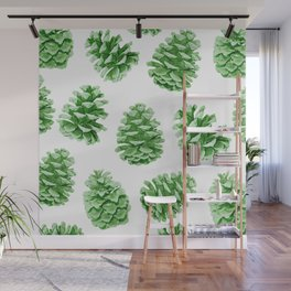 Minty Green Pine Cones Wall Mural