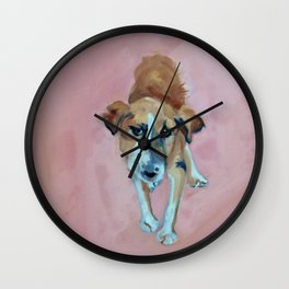 A Dog in Pink Portrait Wall Clock