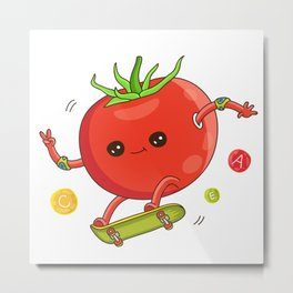 Skating Tomato Metal Print