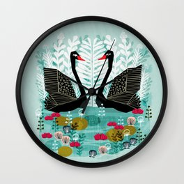 Swans by Andrea Lauren Wall Clock