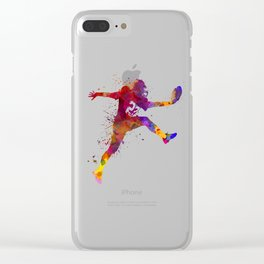 american football player man scoring touchdown silhouette Clear iPhone Case