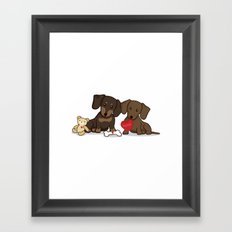 Valentine's Day Love Daschund Illustration Framed Art Print