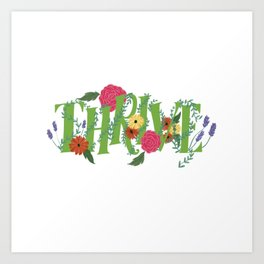 Floral Word Thrive in Midcentury Lettering Art Print