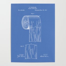Toilet Paper Roll 1891 Patent Art Illustration Blueprint Poster