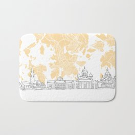 Helsinki Finland Skyline Map Bath Mat