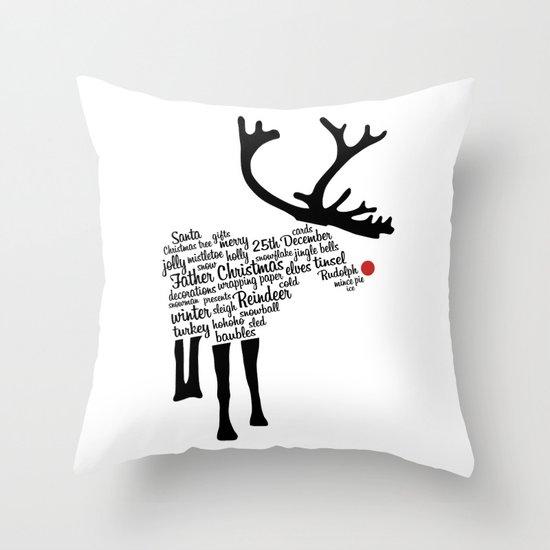 Rudolph Typography Throw Pillow